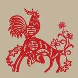Een Haan met een Rams papier-knipsel Stock Foto's
