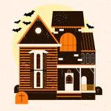 Een Halloween-verschrikkingshuis Vector illustratie stock illustratie