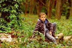 Een halt in het hout De kleine jongenshalt en ontspant zitting op boom in bos Kleine jongen die op aard rusten U schuint halttijd royalty-vrije stock foto's