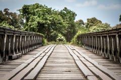 Een hand bouwde houten brug in Papau Nieuw-Guinea stock fotografie