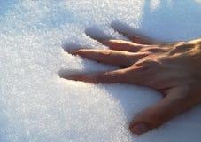 Een hand die in de sneeuw daalt stock foto