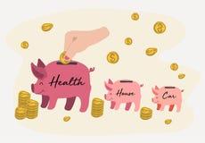Een hand die gouden muntstukken in piggy zetten, bewarend concept royalty-vrije illustratie