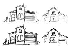 Een hand-drawn huis in een leuke beeldverhaalstijl die wordt geplaatst moderne schets van een gebouw vector illustratie