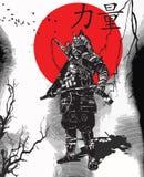 Een hand getrokken vector van de Cultuur van Japan - Samoeraien, Sjogoen Stock Foto's