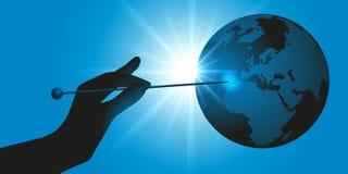 Een hand richt een naald op de aarde, alsof om een ballon te barsten vector illustratie