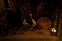 Een handelaar van het afgelopen Historische Museum in Doubai De V.A.E doubai De zomer van 2016 royalty-vrije stock foto's