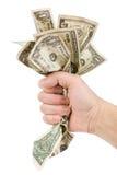 Een handhoogtepunt van ons dollars Stock Foto's