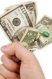 Een handhoogtepunt van ons dollars Royalty-vrije Stock Afbeelding