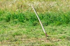 Een handig hulpmiddel om gesneden gras te oogsten stock afbeelding