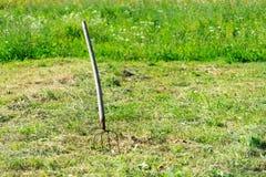Een handig hulpmiddel om gesneden gras te oogsten stock afbeeldingen