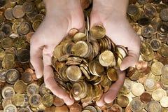 Een handvol Geld royalty-vrije stock foto's