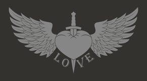 Een hart met vleugels door een zwaard en een tekst worden doordrongen die stock fotografie