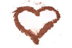 Een hart van cacao royalty-vrije stock foto's