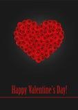 Een hart van gestileerde rode rozen wordt gemaakt die Royalty-vrije Stock Foto