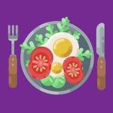 Een hartelijk ontbijt van gebraden eieren en verse groenten Vector illustratie Het eten op een plaat is een hoogste mening gedien stock illustratie