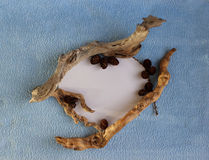 Een hartkader van larikskegels en droge stokken Stock Foto