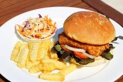 Een heerlijke knapperige vissenhamburger met kaas, sla, en mayonaise met frieten en saladeonside stock fotografie