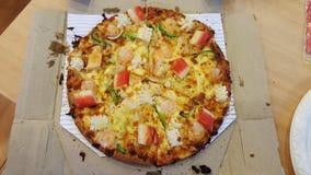 Een heerlijke zeevruchtenpizza voor diner Royalty-vrije Stock Afbeelding