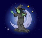 Een heks bij de hemel dichtbij de maan royalty-vrije illustratie