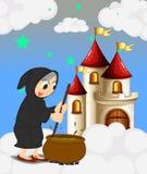 Een heks en haar magische pot dichtbij het kasteel royalty-vrije illustratie