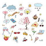 Een heldere reeks kinderen` s tekeningen voerde op een schoolnotitieboekje uit Een vectorillustratie voor de Dag van Valentine `  Royalty-vrije Stock Foto