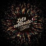 Een heldere uitbarsting van feestelijke lichten diepe blauwe kleur Feestelijke Nieuwjaar` s begroeting Gouden Vuurwerk royalty-vrije illustratie