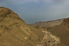 Een Hemar-Rivier in een Israëlische woestijn Stock Afbeeldingen