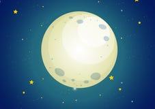 Een hemel met sterren en een maan Stock Afbeelding
