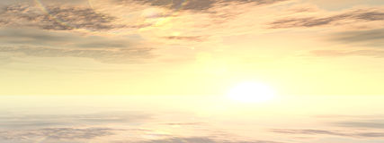 Een hemel met wolken en overzeese golven bij zonsondergangbanner Royalty-vrije Stock Fotografie