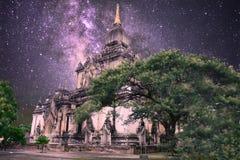 Een hemelhoogtepunt van sterren in bagan stock foto