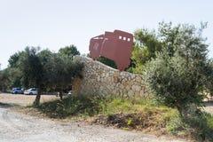 Een herdenkingsstenen rand dichtbij de plaats met de in een hinderlaag gelokte het vechten voertuigen van Haganah - IDF - tijdens royalty-vrije stock foto