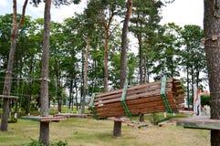 Een het beklimmen muur, de sleeplijnen en een kabelpark zijn sportief voor spelen en vermaak van raad en bomen met kabels voor he stock fotografie