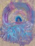 Een het cijferzitting van Boedha onder golven royalty-vrije illustratie