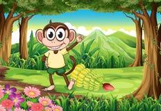 Een het glimlachen aap bij het bos met bananen Stock Fotografie