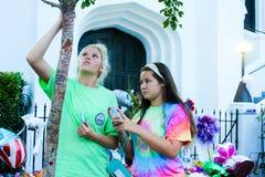 Een het leven gedenkteken buiten Emanuel A M e Kerk, Charleston, Sc Stock Foto