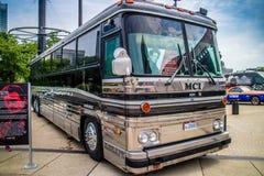 Een het reizen bus voor overleg in Cleveland, Ohio eens wordt gebruikt dat royalty-vrije stock afbeelding