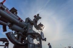 een het schieten kanon op het slagschip Royalty-vrije Stock Foto