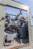 een het schieten kanon op het slagschip Stock Afbeelding
