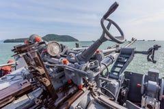 een het schieten kanon op het slagschip Stock Afbeeldingen