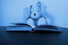 Een het stuk speelgoed van de konijnpluche zitting achter een open boek stock afbeeldingen
