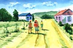Een hete zonnige dag op vakantie De vermoeide mensen gaan op de manier naar het hotel royalty-vrije illustratie
