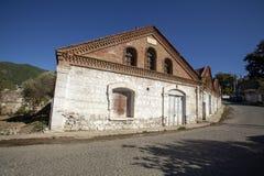 Een historische olijfoliefabriek in Edremit, Balikesir, Turkije royalty-vrije stock fotografie
