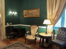 Een hoek in een ruimte in het Iulia Hasdeu-paleis stock foto