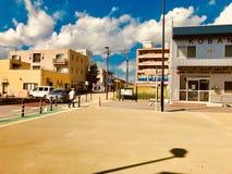 Een hoek van een buurt dichtbij het station in het de Prefectuurplatteland van Chiba van Japan royalty-vrije stock foto's