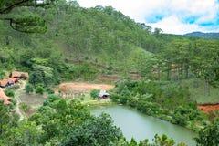 Een hoek van `-Lan ` van Cu dorp in de stad van DA Lat, Vietnam met een pijnboom rond bos stock fotografie