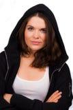 Mooie vrouwelijke trainer met verbindingsdraad met een kap Royalty-vrije Stock Fotografie