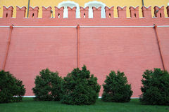 Een hoge rode bakstenen muur van het Kremlin Royalty-vrije Stock Fotografie