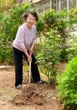 een hogere vrouw in de tuin Royalty-vrije Stock Foto