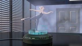 Een holodanser wordt ontworpen met een holoprojector Stock Fotografie