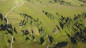 Een hommel verticaal perspectief die van de weiden bij hoge hoogten, zachte heuvels vormen Dolomiet, Alta Badia, Sud Tirol, Itali stock videobeelden